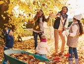 family in leaves